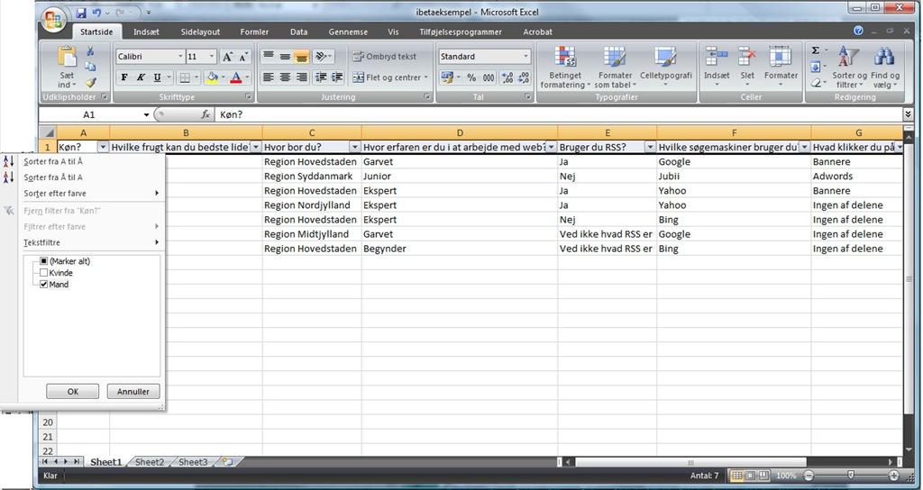 Microsoft Excel 2007 - vælg filtre