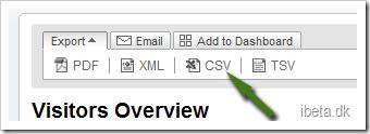Vælg Export i Google Analytics