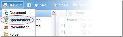 Klik 'Spreadsheet'